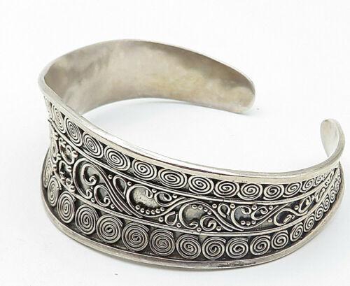 SUARTI BALI 925 Silver - Vintage Spiral Swirl Wire Detail Cuff Bracelet - B4814