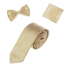 Men's Formal Classic Champagne Beige Microfiber Tie Bowtie And Hanky Set