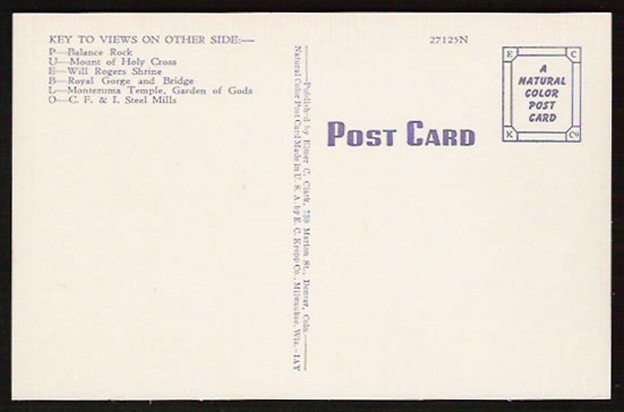 Pueblo Colorado Postcard Scenic Large Letter Greetings CO PC