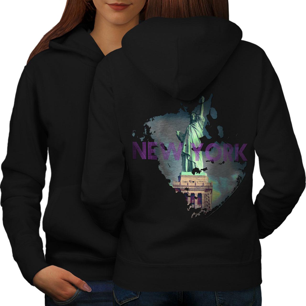New York Liberty City USA Sweatshirt Hoody USA America Women Hoodie Back - $21.99 - $22.99