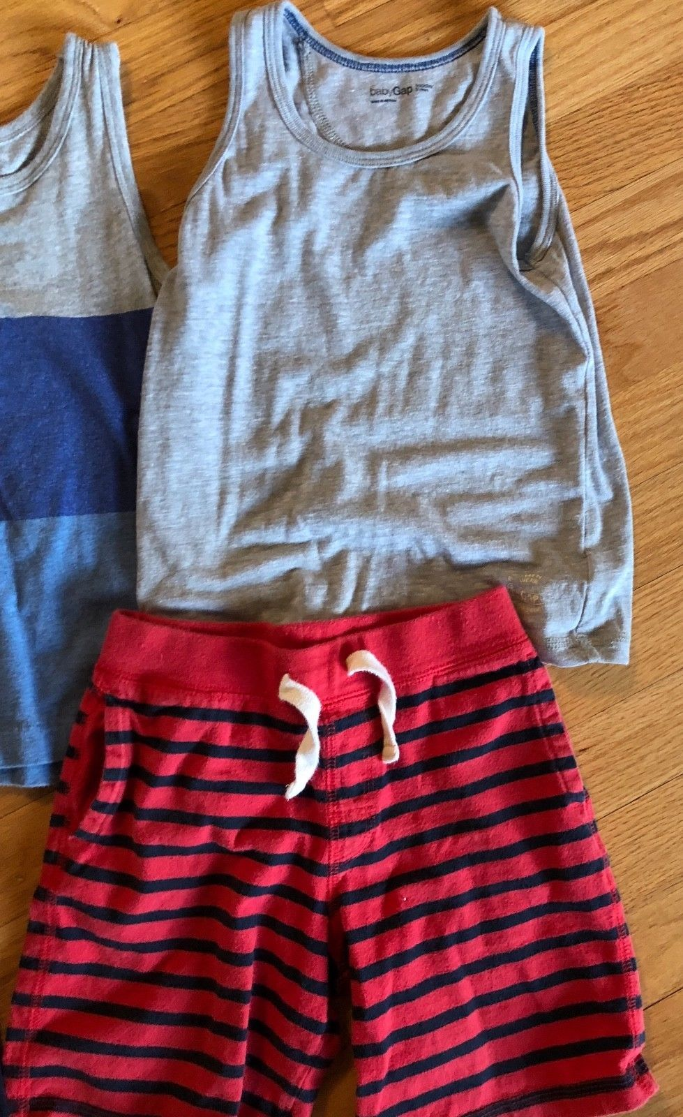 BABY GAP Tank Top + Knit Pull On Shorts Lot of 7 - Summer Outfits Blue Gray Red image 2