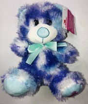 "Hugfun Teddy Bear Plush 8"" Stuffed Toy Valentines Purple Green Bow - $14.94"