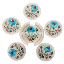 White Marble Coffee Coaster Set Turquoise Mosaic Art Inlay Table Decor Home Gift - $323.45