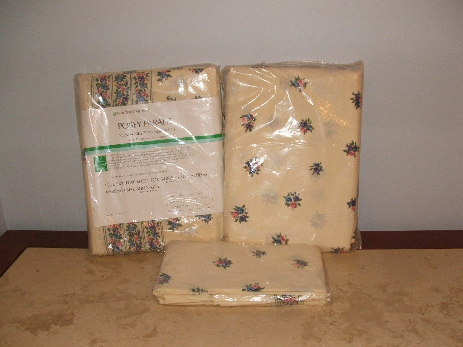 Primary image for NIP VINTAGE SEARS POSEY PARADE FULL  SHEET SET,FLAT,FITTED 2 PILLOWCASES  NIP