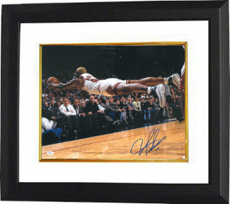 Primary image for Dennis Rodman signed Chicago Bulls 16X20 Photo Custom Framed Diving (blue sig)-