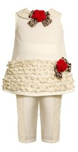 Bonnie Jean Baby Girl 3M-9M Ivory Ruffle Border And Lace Trim Dress/Legging Set