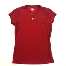 Under Armour COMPRESSION V-neck Shirt Size Medium M Fitted Maroon Short ... - $17.31