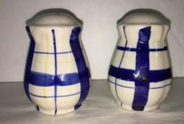 V1174 DesignPac Stoneware Salt and Pepper Shakers Blue Plaid Design - $4.99