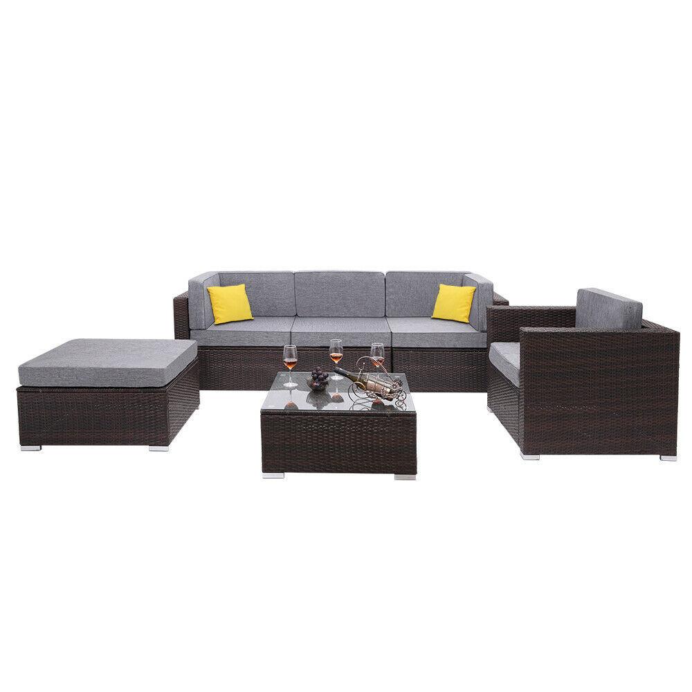 6 Pieces Patio PE Wicker Rattan Corner Sofa Set
