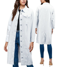 Women's Long Length Distressed Denim Cotton Oversize White Jean Coat - Medium