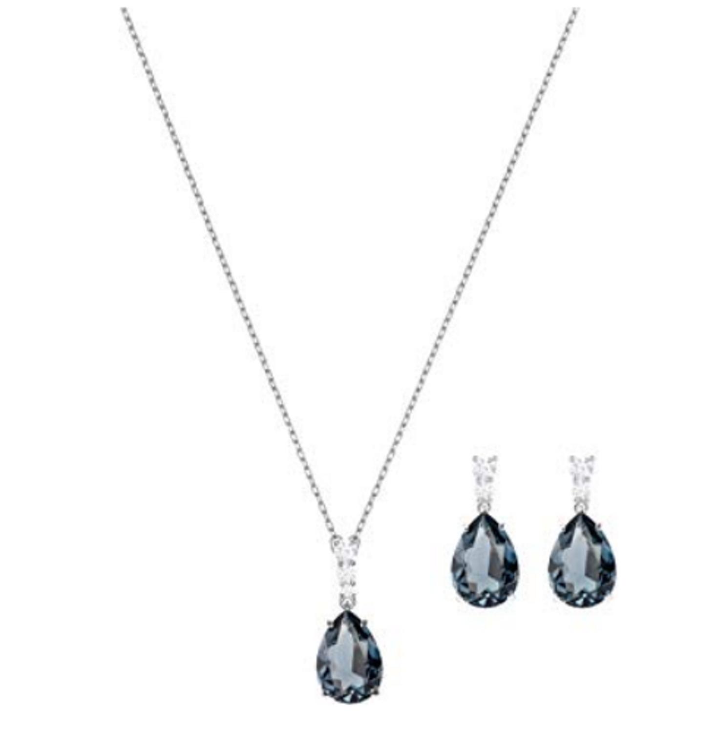 Swarovski Set Vintage, Coated Of Rhodium, Glass Green Azulado. Length 15in - $297.06