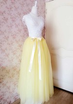 Yellow Floor Length Tulle Skirt Long Tulle Tutu Wedding Outfit image 3