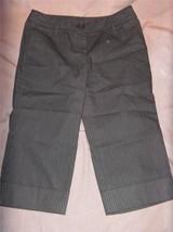 W6886 Womens Ann Taylor Loft Marisa Black Pinstripe Cuffed Capris Pants 2 Petite - $14.50