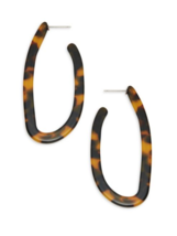 Kenneth Jay Lane KJL Stylish Faux Tortoiseshell Brown J Hoop Earrings - $55.00