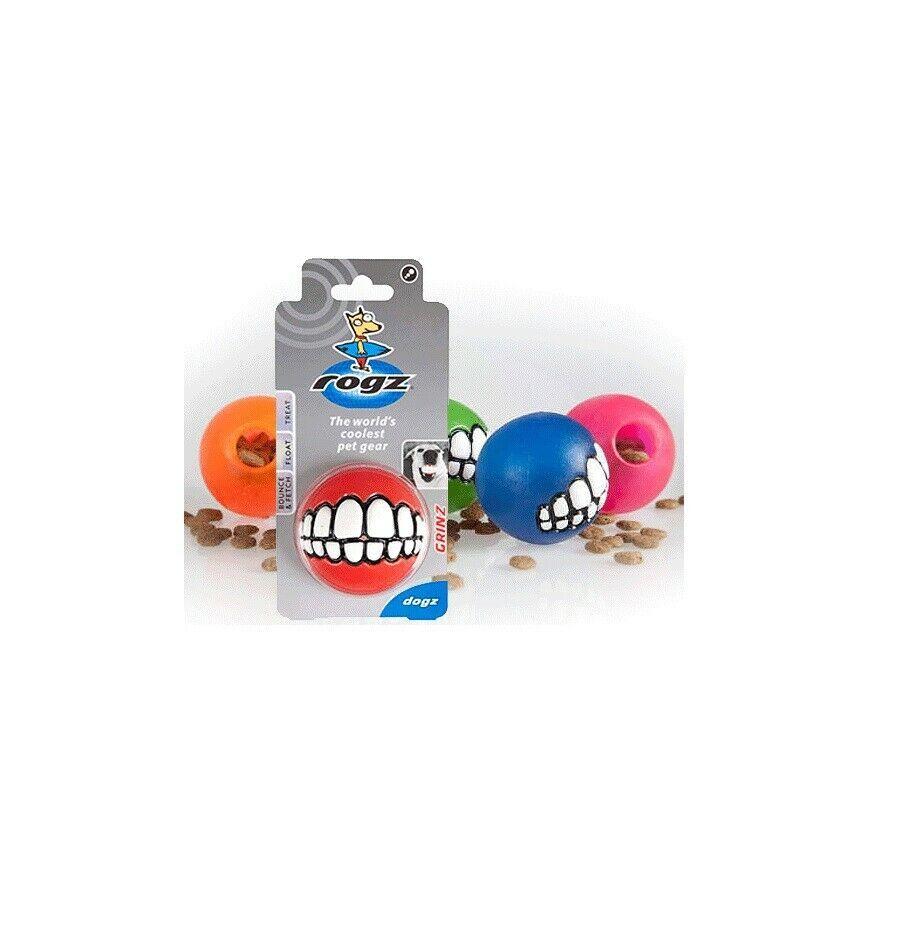 "ROGZ Grinz Ball for Dog Toy Medium Push treats into the hole SOLD EACH ITEM 2.5"""