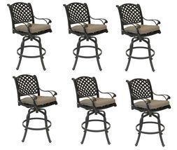Nassau bar stools Set of 8 swivel outdoor patio furniture cast aluminum. image 3