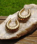 Gold Hoop Dangle Earrings, Hollow Scalloped Puffy Ribbed Slice Design Pi... - $95.00