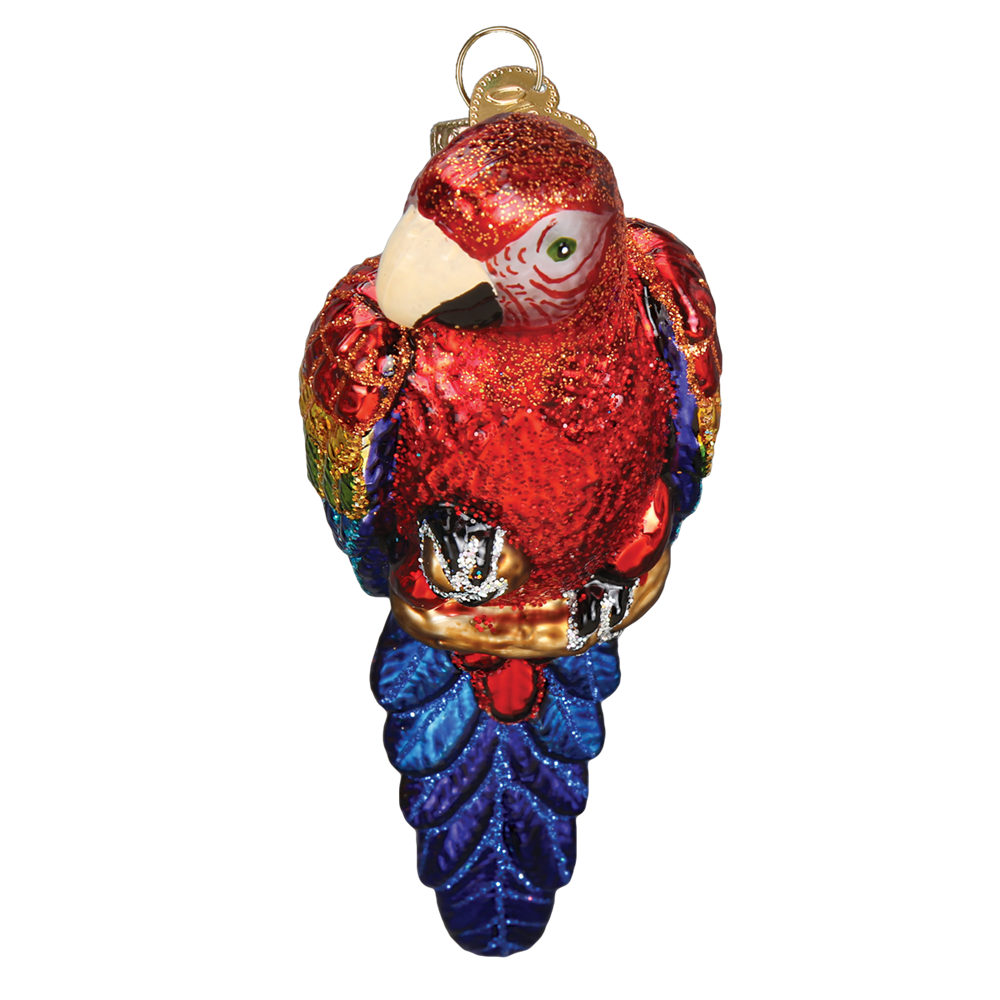 OLD WORLD CHRISTMAS TROPICAL PARROT BIRD GLASS CHRISTMAS ORNAMENT 16117