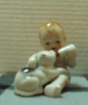 Vintage Baby Bottle Feeding Kitten Made in Japan Figurine Nursery Decor - $10.25