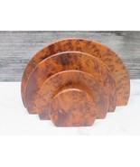 Art Deco Round Burled Carpathian Elm Wood Desk Letter Holder  - $98.01