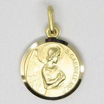 SOLID 18K YELLOW GOLD ROUND MEDAL, SAINT GABRIEL ARCHANGEL, DIAMETER 15mm image 5