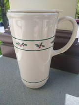 Longaberger Pottery ~ Traditional Holly 10 Oz Travel Mug Cup With Lid ~ - $24.99