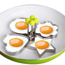 Frying Egg Pancake Ring Mold 4pcs Nonstick Cooking With Handles Stainles... - $10.99