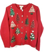 Talbots Ugly Christmas Sweater Petite Small Button Cardigan Red Green Xm... - $21.04