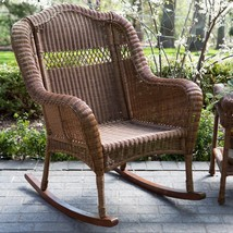 South Bay Traditional Brown Wicker Rocking Chair Patio Porch Rocker Outd... - $257.35
