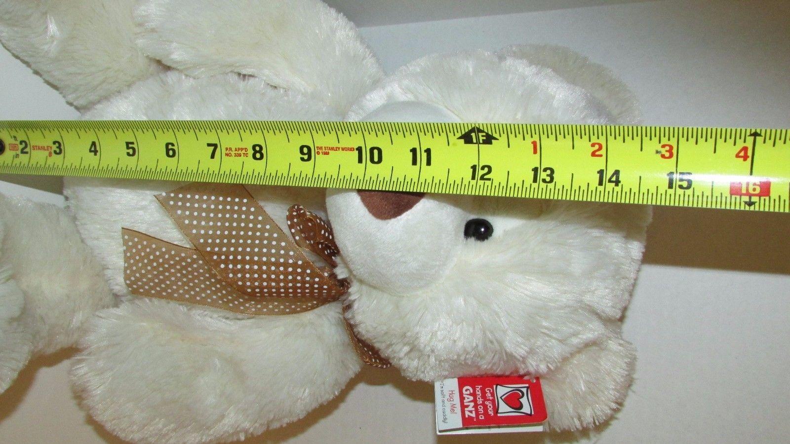 "Ganz Plush large cream stuffed teddy bear brown nose polka dot bow 13-18"" w/ tag"