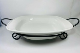 """White 14.5"""" Square Bowl With Iron Rack - Home Essential and Beyond - $49.49"""