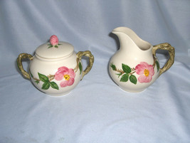 3 Pc Vintage Sugar & Creamer Franciscan China Stoneware Desert Rose USA ... - $44.55