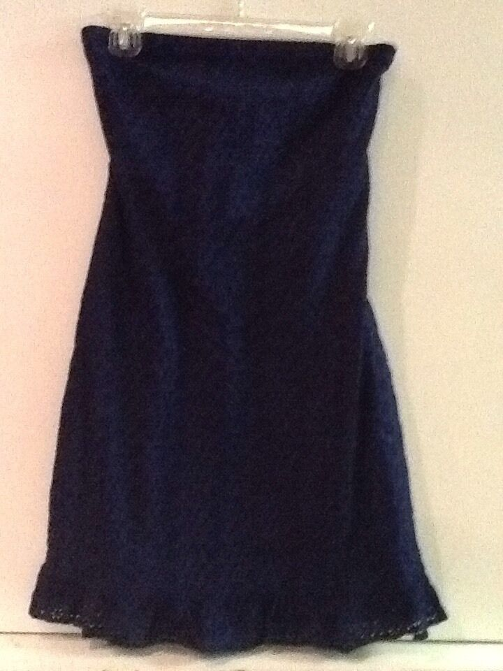 Primary image for Old Navy Blue Eyelet Lace Strapless Dress Sz 4