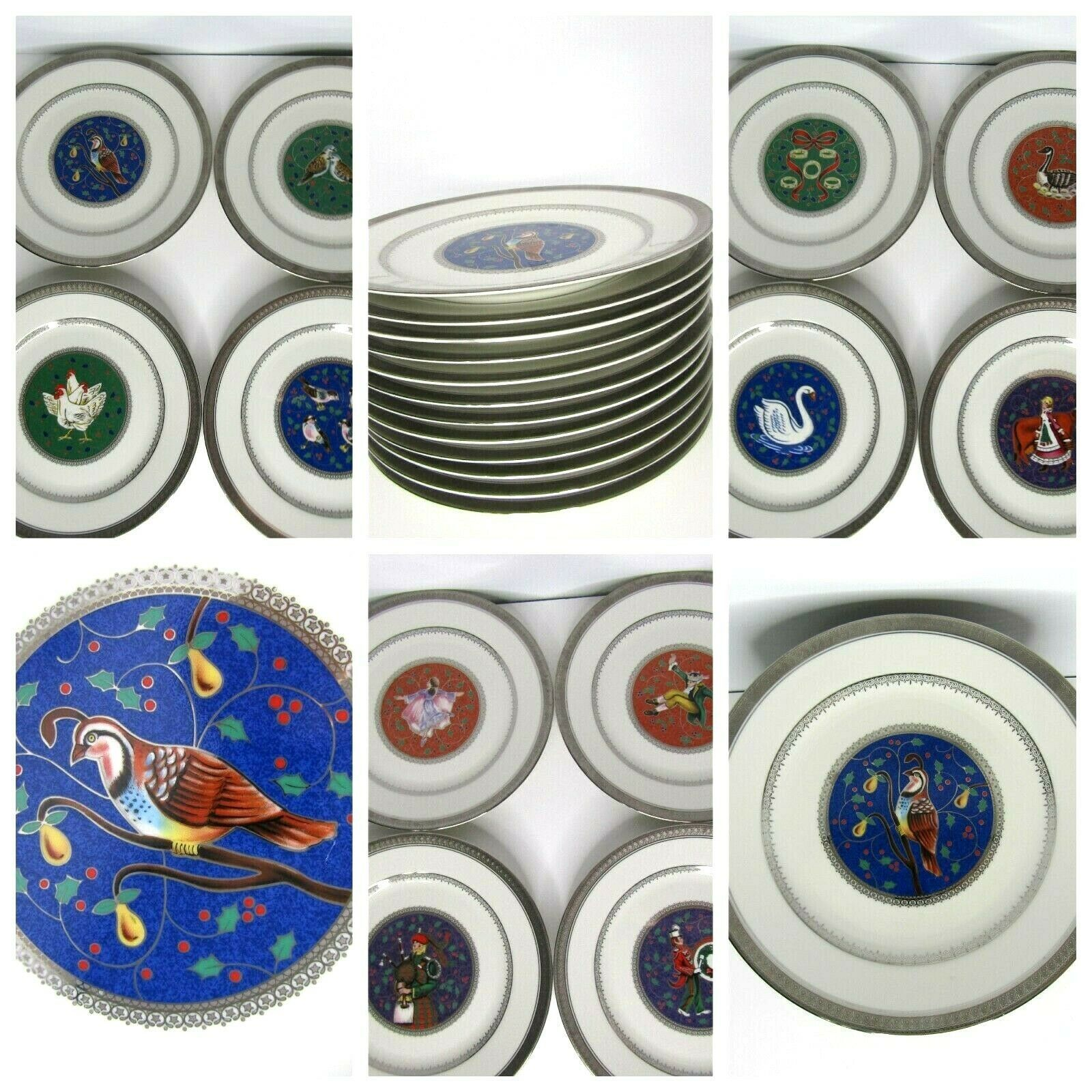 Primary image for Mikasa 12 Days Of Christmas 1999 Porcelain Plate Set Trimmed Platinum