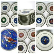 Mikasa 12 Days Of Christmas 1999 Porcelain Plate Set Trimmed Platinum - $308.32