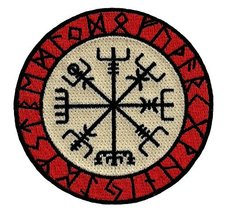 Viking Compass Embroidered Patch White Red Vegvsir Iron-On Norwegian Navy Guide - $4.29