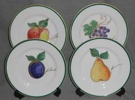 Set (4) Crate & Barrel COLORFUL FRUIT PATTERN Salad Plates GOLD TRIM - $39.59