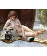 Nude lying on rug with tiger and jewels Louis ICart Art Deco 8 x 10 phot... - $7.50