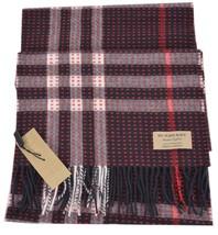 New Burberry $650 100% Cashmere Military Stitch Giant Nova Check Print S... - $257.50