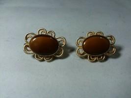 VINTAGE SIGNED CELEBRITY Gold Tone ~ Tiger Eye Clip EARRINGS - $9.79