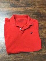 AMERICAN EAGLE Athletic Fit V-Neck Short Sleeve Red Polo Shirt Men's Siz... - $314,63 MXN