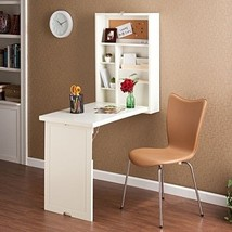 Wall Mounted Folding Desk Home Office Computer Table White Storage Space... - $355.70