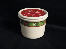 LONGABERGER POTTERY BLUSTER THE SNOWMAN  PINT CROCK WITH COASTER LID - $17.37