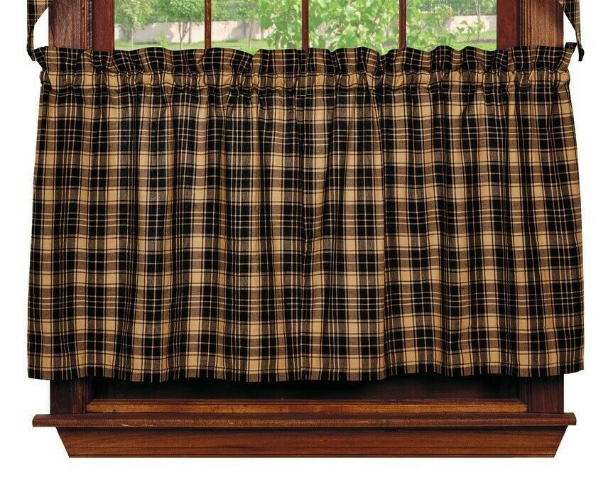 Primary image for primitive country cabin farmhouse HERITAGE CHECK black tan plaid TIER curtains
