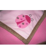 Babygear Ladybug Baby Blanket Pink Brown Sherpa Girl Infant - $24.73