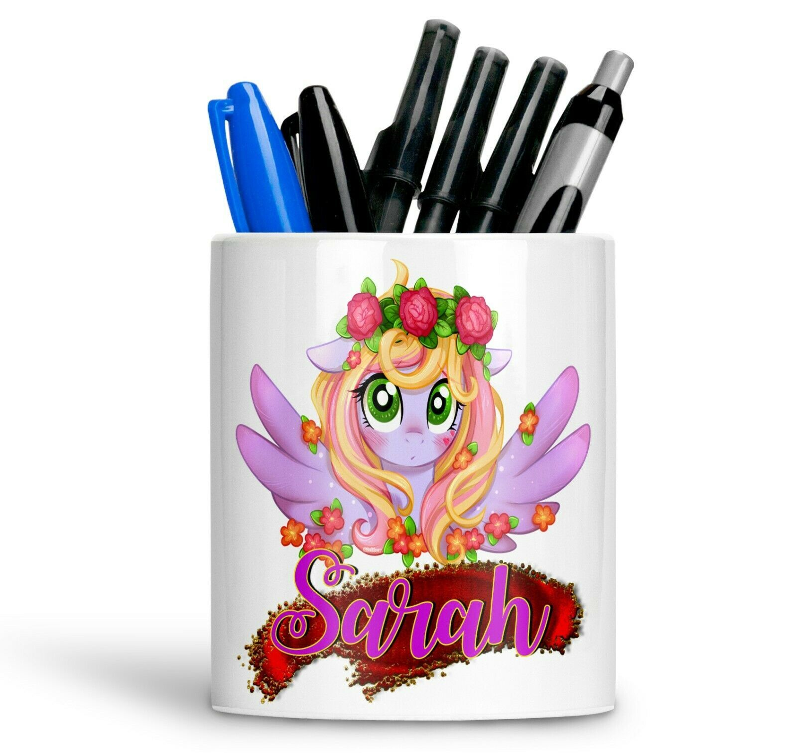 Primary image for Personalised Any Text Name Ceramic Ponny Pencil Pot Gift Idea Kids Adults 50