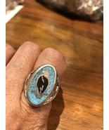 1980's Vintage Southwest Silver Bronze 11.5 Hawk Genuine Turquoise Inlay... - $27.72