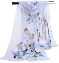 GERINLY Women Scarves Cute Butterflies Sheer Chiffon Scarf (White) - $19.37