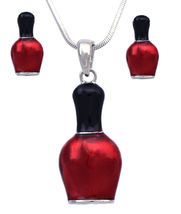 Nail Polish Bottle Necklace and Earrings Set - Charm Stud Post Manicuris... - $27.98