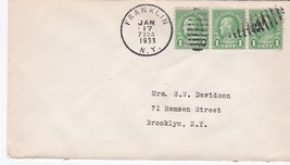 FRANKLIN NY JANUARY 17 1933 ON 1C FRANKLIN STAMP  - $2.98